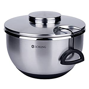 Kochling Salatschleuder Edelstahl mit Seilzug inkl. Sieb und Salatschüssel, Silber