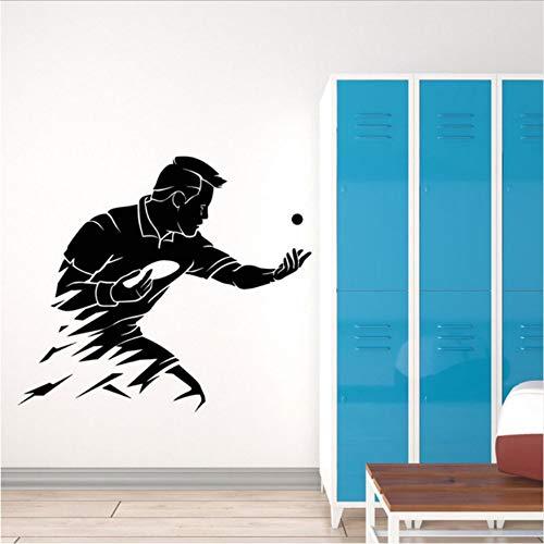 Olivialulu Abstrakt Tischtennis Wand Vinyl Aufkleber Ping Pong Sport Wandkunst Wand Gym Wanddekoration Sport Liebhaber Tapete 3Y40 65 * 57 Cm
