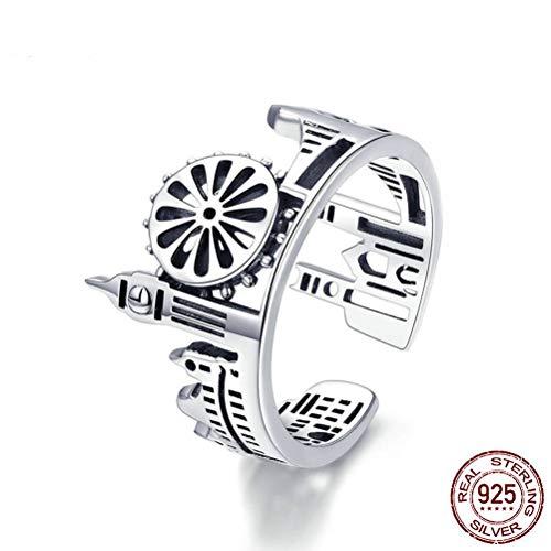 Damen 925 Sterling Silber Ring, Neuheit London City Form Britischen Hohlen Muster Gebäude Finger Ring Für Frauen, Hochzeitstag Verlobung Ewigkeit Brautschmuck Festival Geschenk