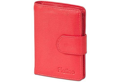 Platino Billetero Mujeres con perno exterior del mejor cuero con calidad de primera clase en rojo