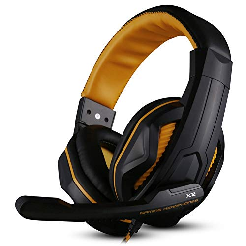 Dhrfyktu Gaming Kopfhörer Stereo Sound Over-The-Ear Noise Isolating, 3,5 mm Wired Headset für PC Xbox One PS4 Nnintedo Switch (Color : Yellow) Sound Isolating Stereo