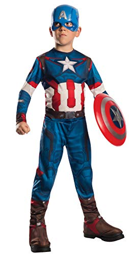 Rubie's IT610424 - Costume 'Captain America', Multicolore, S (3-4 anni)