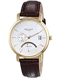 Regent Herren-Armbanduhr XL Analog Quarz Leder 11100250
