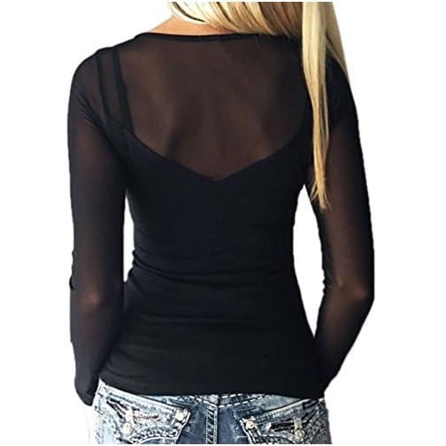 uk availability 4b3d2 10841 NiSeng Donna Camicetta Maglietta T-Shirt Transparente Blusa Manica Lunga  Elegante