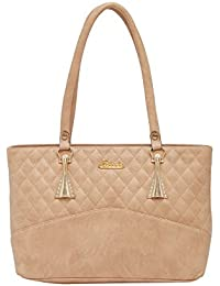 ESBEDA Beige Checks Pu Synthetic Fabric Handbag For Women