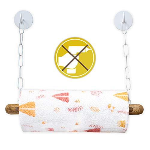 DEKAZIA® Küchenrollenhalter ohne Bohren Holz   Selbstklebend & Extrem Fest   Papierrollenhalter für Wand   Wandrollenhalter   weiß