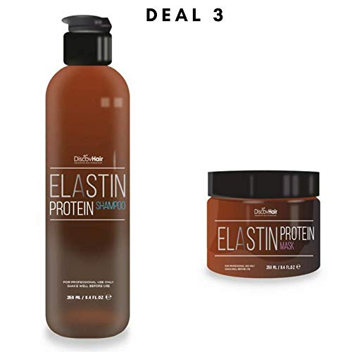 DiscovHair- ELASTIN PROTEIN SHAMPOO & MASK- 250ml- 8.4oz- clean, pamper and nourish the hair while protecting from daily abuse. prolongs the natural shine and makes the hair soft