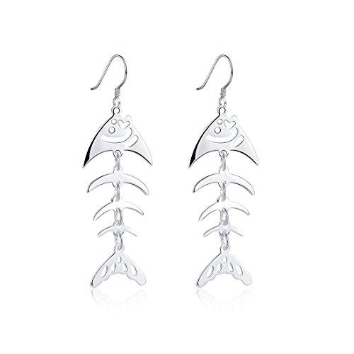 Ms. Swan®925 Sterling Silber lange kreative Fisch Form Hängend Ohrringe Für Mädchen (Fisch Ohrringe)
