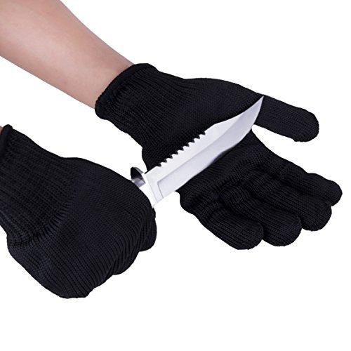 Meliya Edelstahl Draht Schützen Handschuhe schnittfest Sicherheit Arbeitshandschuhe anti-slash Cut Statische Widerstand Schutz Handschuhe–resistent Level 5(1Paar), schwarz (Fünf-flammen-edelstahl)