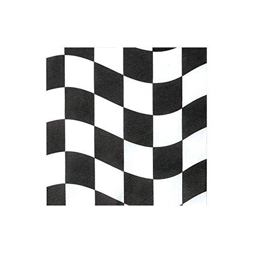 PARTY DISCOUNT Servietten Autorennen, Black & White Check, 33 cm x 33 cm, 16 Stück - 33 Formel