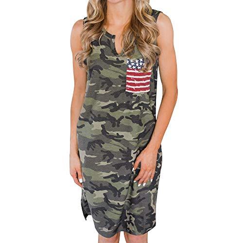 MAYOGO USA Flagge Sommerkleid Beiläufiges Camouflage Damen Sommer Kleider Knielang Midi Trägerkleid Tank Weste Kleider Amerika Flagge Kleidung -