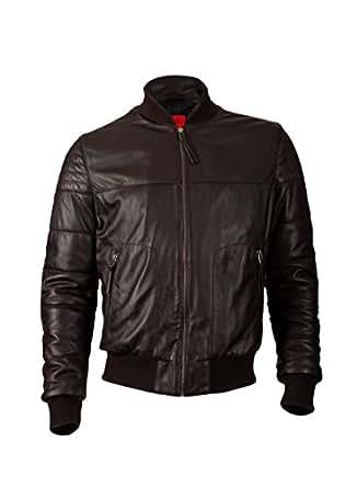 KAVACi SanMarino-Biker Fashion Long Sleeve Polo Leather Jacket_Brown