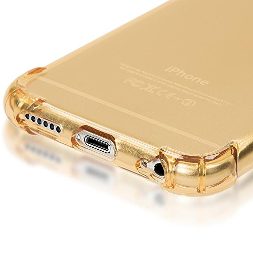 iPhone 6 6S Coque Silicone de NICA, Ultra-Fine Housse Protection Transparente Cover Slim Etui, Mince Telephone Portable Clear Gel Case Bumper Souple pour Apple iPhone 6S 6 Smartphone - Gold Or Gold Or