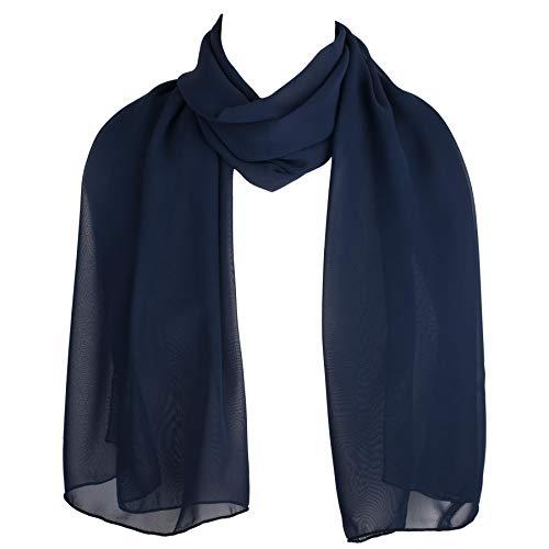 check out 05518 ca4bb Sciarpa Elegante Blu Navy Chiffon, Scialle, Coprispalle