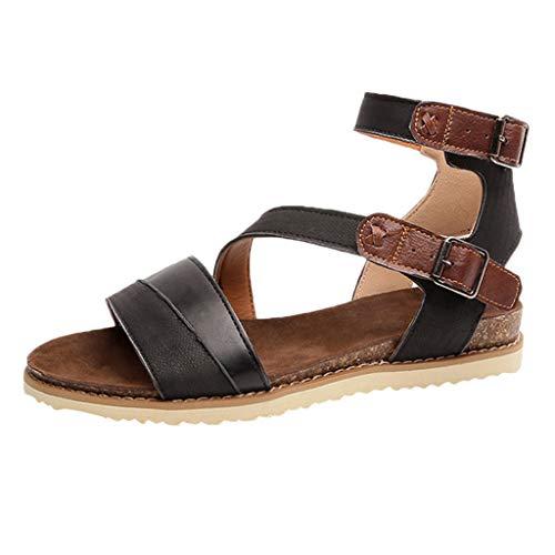 Scarpe da donna con fibbia in pelle piatta sandali scarpe romane, sandali con bassi estivi comodi pantofole ragazza casual da spiaggia cerniera piatta con le scarpe