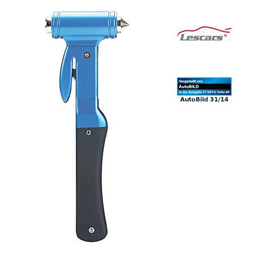 Lescars Notfallhammer: 2in1-Notfall-Hammer mit integriertem Gurtschneider für Kfz (Nothammer)