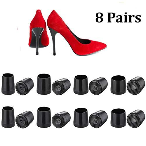 High Heel Kappen 8Paar High Heel Displayschutzfolie Ferse Reparatur Radabdeckung, extra klein, klein, mittel, groß, Schwarz -