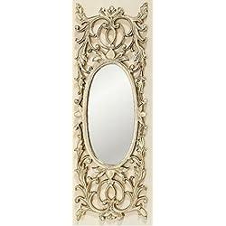 Home Collection - Muebles, decoración - Espejo de pared ovalado con elementos decorativos - Estilo: Barroco - Color: dorado - H 71 cm