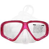 AM-308 Adulto Doble Capa Impermeable Anti-vaho Transparente Silicona Área Grande Máscara de Buceo Gafas Accesorios de natación - Rosa Roja