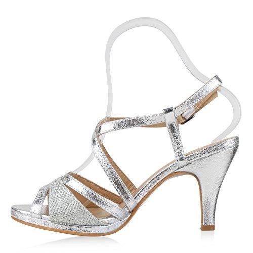 Damen Riemchensandaletten | Glitzer Sandaletten Metallic | Stilettos High Heels | Sommer Party Schuhe | Abiball Hochzeit Brautschuhe Silber Silber
