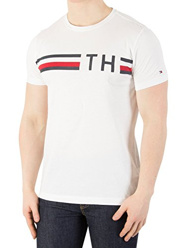 Tommy Hilfiger Herren T-Shirt Striped Logo Graphic Tee, Weiß (Bright White 100), Medium (Basic Bio Tee)