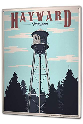 HGNGHN Tin Sign XXL Adventurer Hayward Wisconsin Water Tower fir Trees