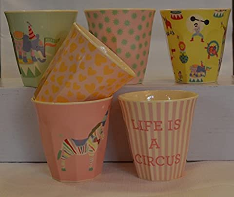 Boîte de 6Petites Tasses en mélamine dans filles Circus x