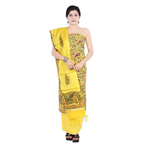 Aaditri Clothing Women's Cotton Unstitched (Yellow) Salwar Suit Dress Material With Dupatta