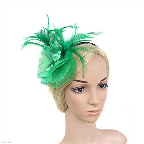 Yiwuhu Frauen Eleganter Fascinator Hut Damen Damen Mädchen Marine Feder Haarband Kopf Blumen Fascinator Hochzeit Damen Day Race Royal Ascot Hut (Farbe : Grün) (Grüne Derby Kind Hat)