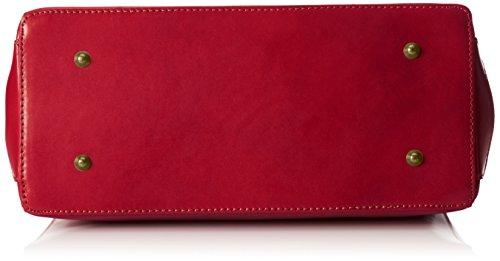 Borsa Donna Ctm, Elegante Borsa Con Manici E Tracolla In Vera Pelle, 35x28x16cm Rosso (rosso)