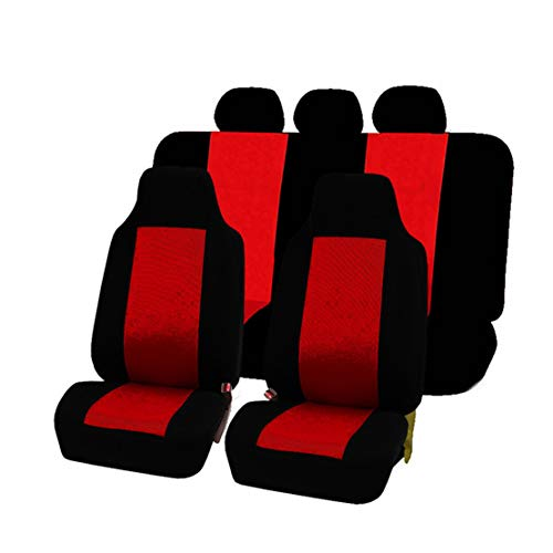 GODGETS Coprisedili Auto Set Completo Universali Anteriori e Posteriori Set Coprisedile,Slittata Resistente all'Usura Accessori Auto Interno,Nero Rosso,2 * Seater Anteriore + 3 * Seater Posterio