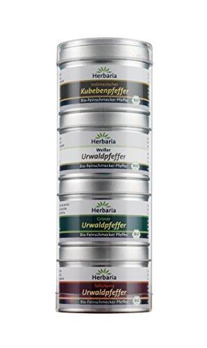 Herbaria 4er Set Bio-Pfeffer: Urwaldpfeffer grün, Tellicherrypfeffer, Kubebenpfeffer, Weißer Bergpfeffer, 1er Pack (1 x 95 g)