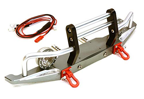 ups C27283GUN Billet Machined Alloy Front Bumper w/ LED(2) for Axial 1/10 SCX10 II 43mm Mount ()