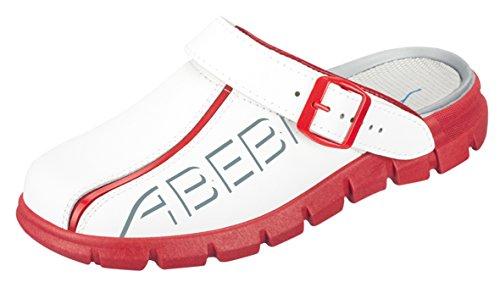 Abeba Clog 7313 - Dynamic Glattleder, weiß/rot mit Aufdruck zertifiziert - Koch Schuhe-clogs