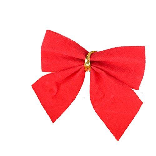 HKFV 12X Weihnachtsbaum Bogen Dekoration Baubles Xmas Party Garten Bögen Ornament NEU Weihnachtsschmuck Anhänger kleiner Bogen Bowknot Weihnachtsschmuck (Rot) (Dekoration Bogen Christmas)