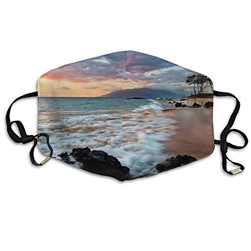Mundmaske, Gesichtsmaske, Wailea Makena Beach Maui Hawaii Beautiful Sunset Printed Mouth Masks Unisex Anti-dust Masks Reusable Face Mask