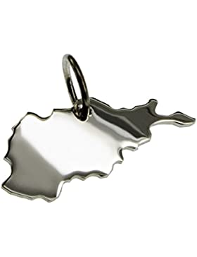 Anhänger Silber Landkarte AFGHANISTAN - 925 Sterling Silber Kettenanhänger massiv für Damen Herren