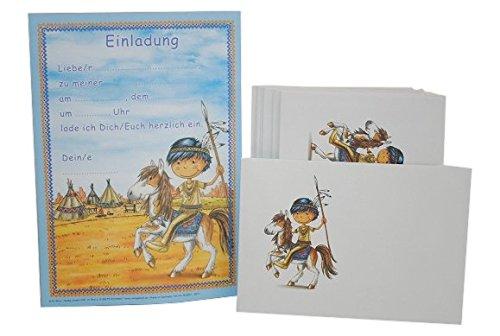 24 tlg. Set Einladungskarten + Umschlag Indianer Party Einladung Karte Pfadfinder Mädchen Pferde