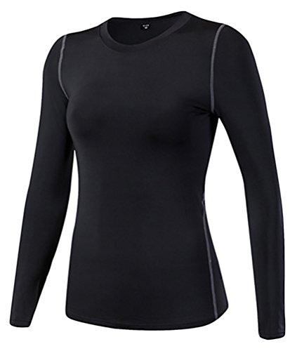 YiJee Femme Mince Sport Fitness T-shirt Séchage Rapide élasticité Yoga Compression Noir L