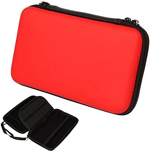 Techgear custodia compatibile con nintendo 2ds xl - custodia protettiva da viaggio cover rigida e spaziosa realizzata per 2ds xl + giochi + accessori [rosso]