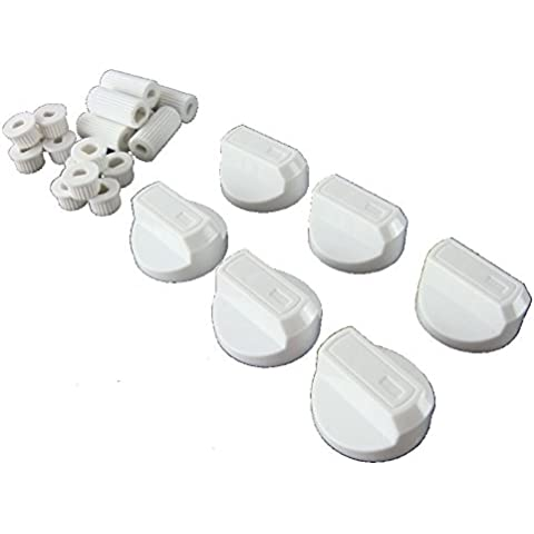 Ufixt® 6 x Hotpoint, Howdens, Hygena, Indesit, Lamona y LG // de la parrilla del horno de cocina a gas mando de Control y adaptadores de color blanco
