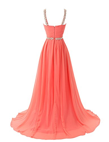 Dresstells Damen Abendkleid Ballkleid Lang Grecian Ausschnitt mit Schleppe DTK90007 Purpur