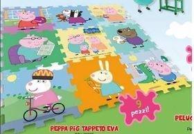 Tappeto puzzle di peppa pig morbito e lavabile , composta da 9 pezzi