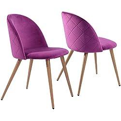 Sillas de Comedor de Terciopelo Conjunto de 2 (púrpura)