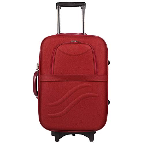 "Elite Fashion Series 20"" Maroon Premium Fabric Cabin Luggage Suitcase Trolley Bag (51 cms)"