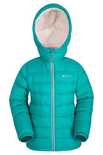 Mountain Warehouse Snowflake Girls Sherpa Lined Jacket - Lightweight, Water Resistant Rain Coat, Fleece Lined, Warm Winter Jacket, Hooded Hellgrün 128 (7-8 Jahre) Hooded Lightweight Coat
