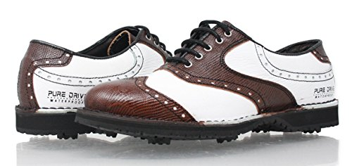 PORTMANN Chaussures de Golf pour Homme - Marron - Tan Brown PYTON \ White Tumbled, 43 EU