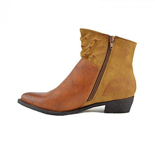 Kick Footwear - Ladies Metà Tacco Alto delle Donne di nuovo il chelsea ankle boots Occidentali Tacchi scarpe casual Tan