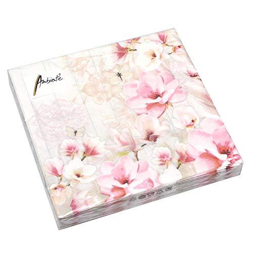 Ambiente 20 Servietten Magnolia Garden 3-lagig 33x33cm Tissue Magnolie Garten Natur rosa Japan -