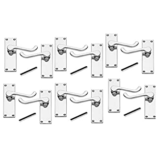6 x Pairs of Victorian Scroll Polished Chrome Lever Latch Door Handles 112mm Long